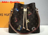 Louis Vuitton Neonoe Bucket Bag Features a Decor of Locks and Keys and Blossoms M44369 Monogram Replica