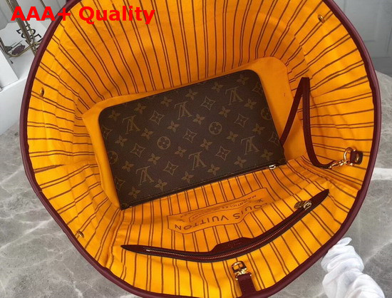 Louis Vuitton Neverfull MM Tote in Monogram Canvas Interwoven with Stripes of Smooth Colored Leather Replica