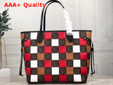 Louis Vuitton Neverfull MM Tote in Monogram Canvas Woven with Colored Leather Replica