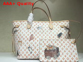 Louis Vuitton Neverfull MM White Transformed Monogram Canvas M44459 Replica