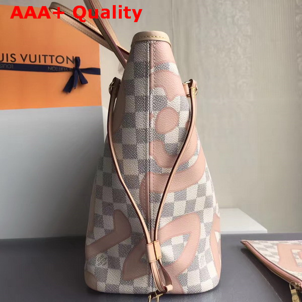 Louis Vuitton Neverfull MM in Damier Azur Canvas Overlaid with a Splashy Monogram Print N41050 Replica
