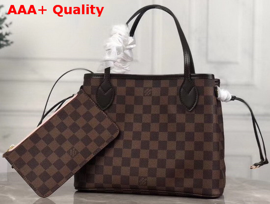 Louis Vuitton Neverfull PM Damier Ebene Canvas with Pink Interior Replica