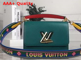 Louis Vuitton New Twist MM Handbag in Green and Blue Epi Leather with Wide Printed Shoulder Strap Replica