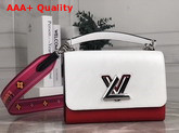 Louis Vuitton New Twist MM Handbag in White Red and Black Epi Leather with Wide Printed Shoulder Strap Replica