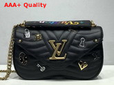 Louis Vuitton New Wave Chain Bag MM Black Smooth Calf Leather with LV Love Lock and Key and Monogram Flower Replica