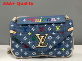 Louis Vuitton New Wave Chain Bag MM in Quilted Denim with Embroidered Monogram Flowers M53692 Replica M53692