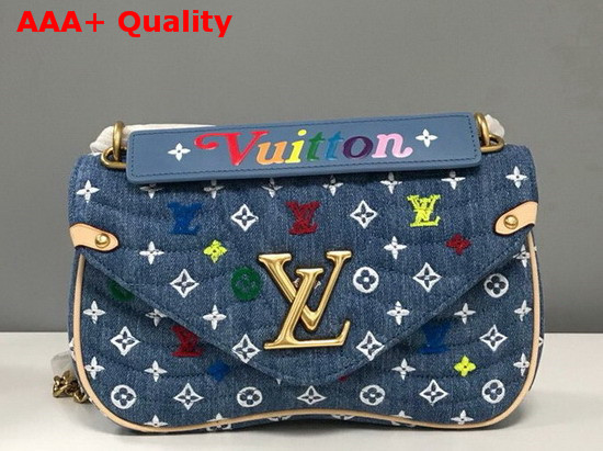Louis Vuitton New Wave Chain Bag MM in Quilted Denim with Embroidered Monogram Flowers M53692 Replica