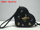 Louis Vuitton New Wave Heart Bag with LV Initials and LV Love Lock Story Symbols Black Replica