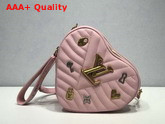 Louis Vuitton New Wave Heart Bag with LV Initials and LV Love Lock Story Symbols Rose Pomettes Pink M53205 Replica