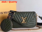 Louis Vuitton New Wave Multi Pochette Accessoires Dark Green Smooth Calf Leather Replica