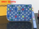 Louis Vuitton New Wave Zip Pochette in Washed Denim with Colorful Monogram Embroidery M67538 Replica