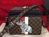 Louis Vuitton Nil Shoulder Bag Damier Ebene Canvas with Rhinoceros Illustration N42704 Replica