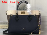 Louis Vuitton On My Side Navy Blue Black Creme Beige Calf Leather and Monogram Coated Canvas M55933 Replica