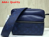 Louis Vuitton Outdoor Messenger PM Blue Taiga Cowhide Leather and Monogram Canvas Replica