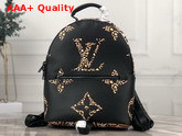 Louis Vuitton Palm Springs Backpack PM Black and Caramel Monogram Motif with Leopard and Zebra Skin Patterns M44718 Replica