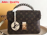 Louis Vuitton Pochette Metis Handbag in Monogram Canvas Features a Braided Leather Top Handle Creme Beige M45152 Replica