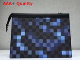 Louis Vuitton Pochette Voyage MM Damier Graphite Canvas Blue Mosaic Effect Replica