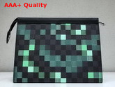 Louis Vuitton Pochette Voyage MM Damier Graphite Canvas Green Mosaic Effect Replica