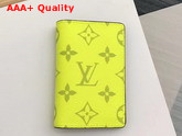 Louis Vuitton Pocket Organiser Lime Green Taiga Cowhide Leather and Monogram Bahia Coated Canvas M30318 Replica