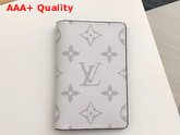 Louis Vuitton Pocket Organiser White Taiga Cowhide Leather and Monogram Antarctica Coated Canvas M30315 Replica