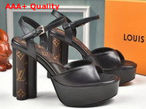 Louis Vuitton Podium Platform Sandal in Black Calf Leather and Patent Monogram Canvas 1A8NZD Replica