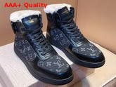 Louis Vuitton Rivoli Sneaker Boot in Black Calf Leather and Monogram Denim with Sheepskin Inside Replica