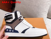Louis Vuitton Rivoli Sneaker Boot in Supple White Calf Leather with Contrasting Blue and Gray Trim for Women Replica
