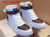 Louis Vuitton Rivoli Sneaker Boot in White Plain Calf Leather and Monogram Canvas with Sheepskin Inside Replica