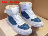Louis Vuitton Rivoli Sneaker in White Calf Leather and Monogram Denim with Sheepskin Inside Replica