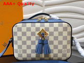 Louis Vuitton Saintonge Handbag Light Blue Damier Aur Coated Canvas Replica