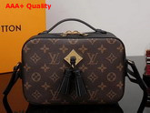 Louis Vuitton Saintonge Monogram Coated Canvas and Black Smooth Calffskin Leather M43555 Replica