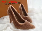 Louis Vuitton Shearling Pump in Brown Replica