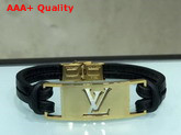 Louis Vuitton Sign it Bracelet Black Calf Leather with Gold Buckle Replica