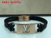 Louis Vuitton Sign it Bracelet Black Calf Leather with Pink Gold Buckle Replica