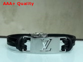 Louis Vuitton Sign it Bracelet Black Calf Leather with Silver Buckle Replica