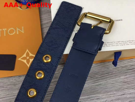 Louis Vuitton Signature 35mm Belt Navy Blue Monogram Printed Washed Denim M0175T Replica