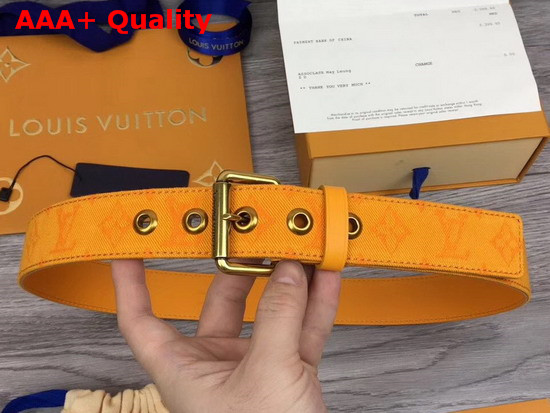 Louis Vuitton Signature 35mm Belt Ochre Yellow Monogram Printed Washed Denim Replica