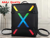 Louis Vuitton Soft Trunk Backpack PM Black Taiga Leather and Signed with the Rainbow X M30337 Replica