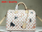 Louis Vuitton Speedy 30 Bandouliere White and Orange Transformed Monogram Canvas Replica