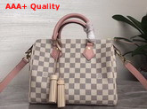 Louis Vuitton Speedy Bandouliere 25 Damier Azur Canvas with Pink Cowhide Leather Trim Replica