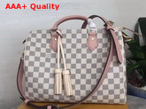 Louis Vuitton Speedy Bandouliere 30 Damier Azur Canvas with Pink Cowhide Leather Trim Replica
