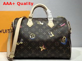Louis Vuitton Speedy Bandouliere 30 Monogram Coated Canvas with Gold or Silver Tone Fused Metallic Foil Motifs M44365 Replica