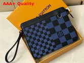 Louis Vuitton Standing Pouch Navy Blue and Black Damier Infini 3D Cowhide Leather N60448 Replica