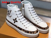 Louis Vuitton Stellar Sneaker Boot in White Calfskin Decorated with Giant LV and Monogram Flower Patches in Leopard Print 1A5NP8 Replica 1A5NP8