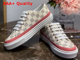 Louis Vuitton Stellar Sneaker in Damier Azur Canvas with Rose Clair Pink Details 1A4XML Replica