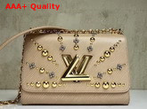 Louis Vuitton Studded Twist MM Epi Leather Galet M52730 Replica M52730