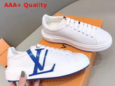 Louis Vuitton Time Out Sneaker in White Calf Leather with Blue LV Initials Logo Replica