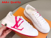 Louis Vuitton Time Out Sneaker in White Calf Leather with Rose LV Initials Logo Replica