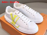 Louis Vuitton Time Out Sneaker in White Calf Leather with Yellow LV Initials Logo Replica