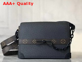 Louis Vuitton Trunk Messenger in Black Taiga Leather and Monogram Canvas Replica